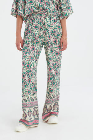 high waist wide leg palazzo broek Printed met all over print multi