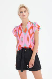 Eksept by Shoeby top Outside met all over print en ruches roze/rood/bruin/turquoise, Roze/rood/bruin/turquoise