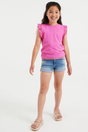 T-shirt met glitters felroze