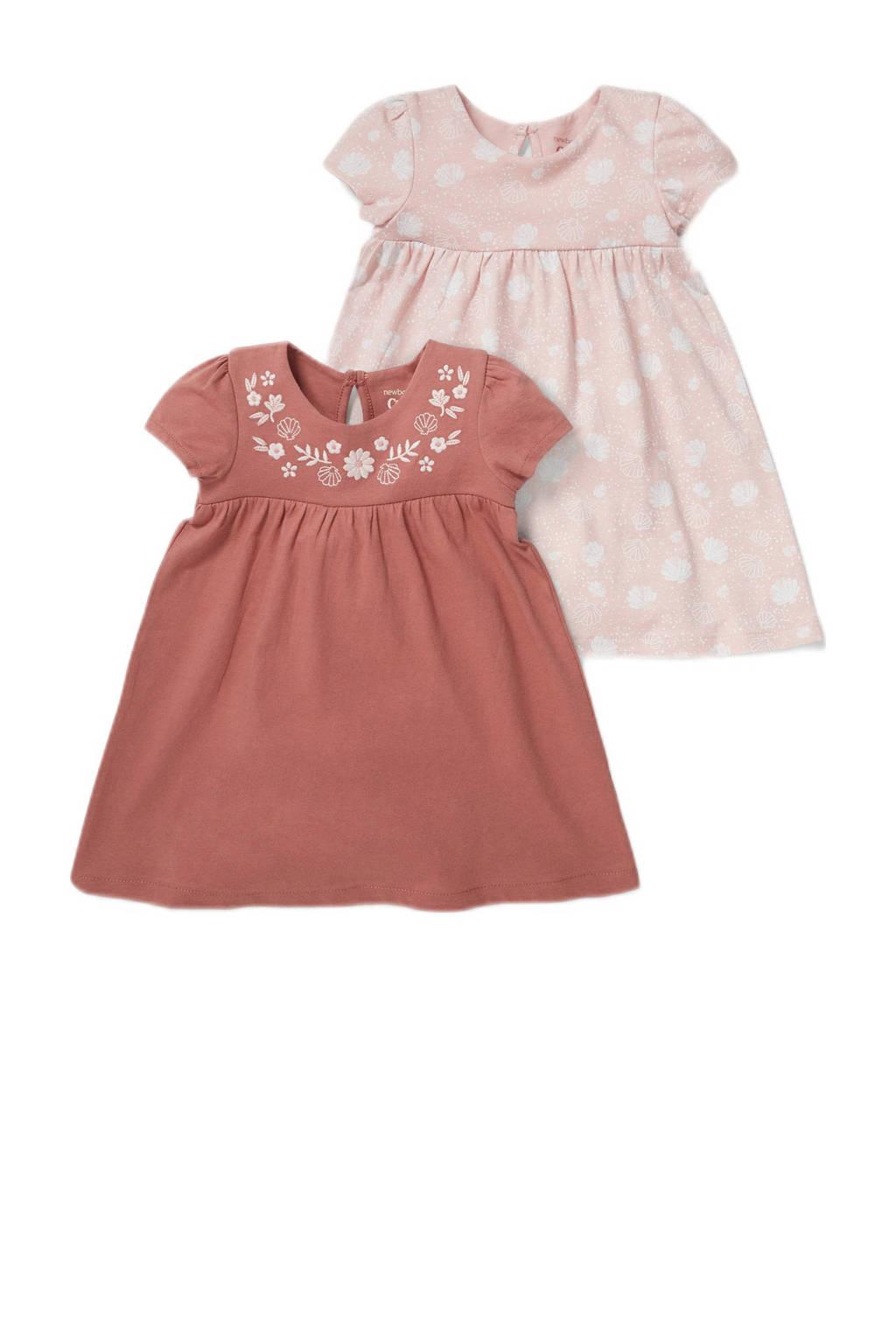 C&A Baby Club jurk - set van 2 oudroze/roodbruin, Roodbruin/roze