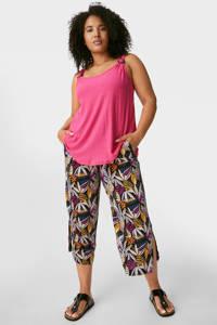 C&A XL Yessica loose fit broek met all over print zwart/multi, Zwart/multi