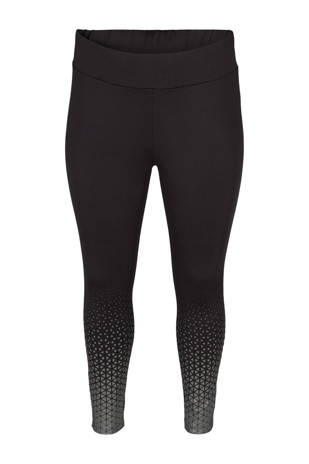 ACTIVE By Zizzi Plus Size 7/8 sportlegging zwart/zilver, Zwart/zilver
