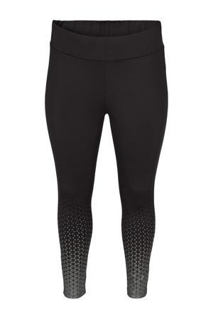 Plus Size 7/8 sportlegging zwart/zilver