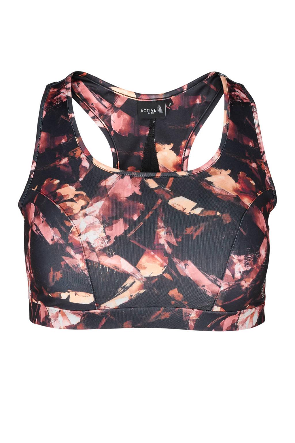ACTIVE By Zizzi Plus Size level 3 sportbh zwart/roze, Zwart/roze