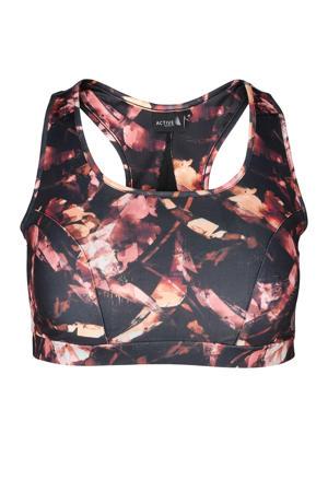 Plus Size level 3 sportbh zwart/roze