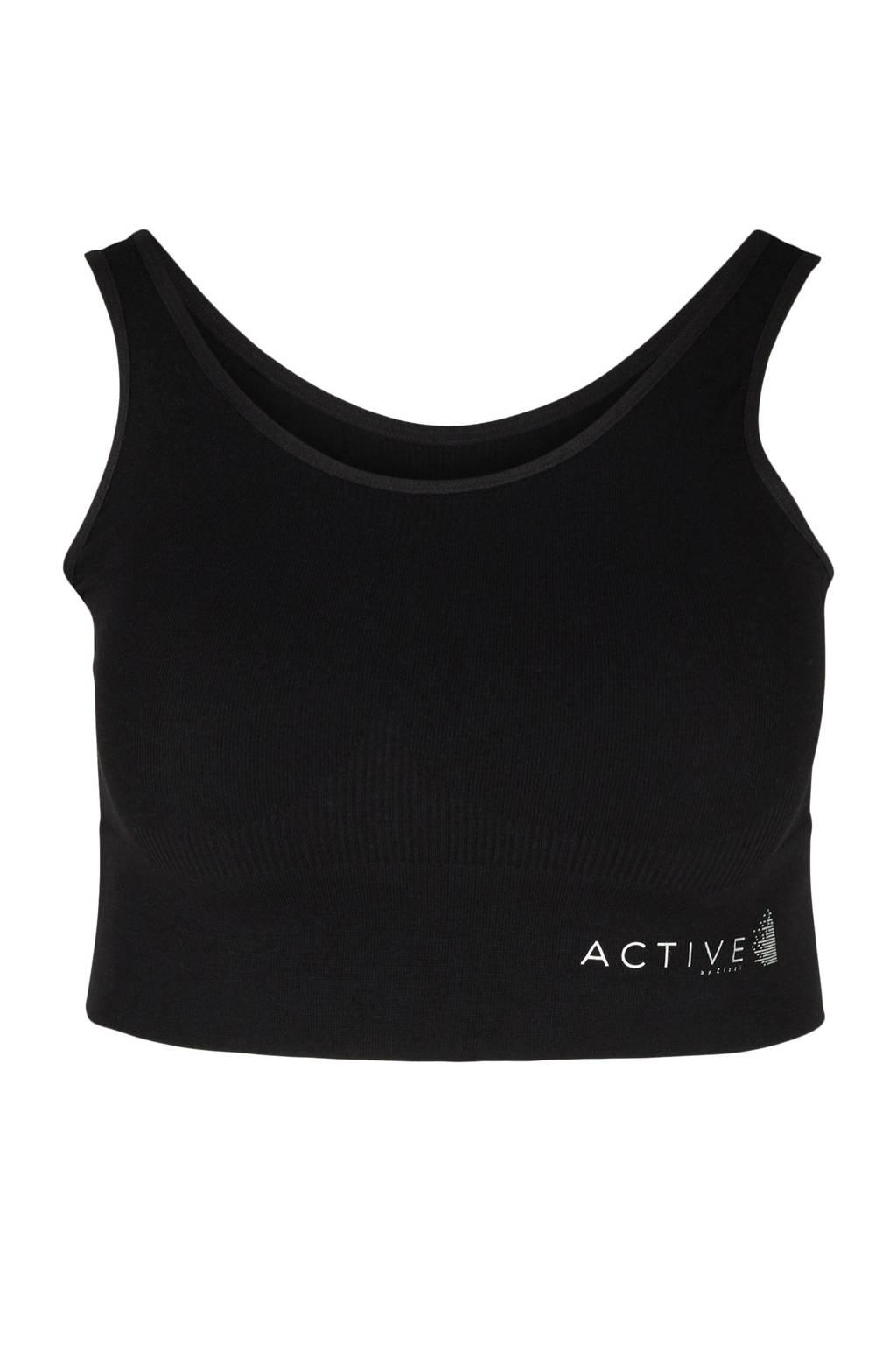 ACTIVE By Zizzi level 3 sportbh zwart, Zwart