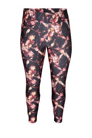 Plus Size 7/8 sportlegging zwart/roze