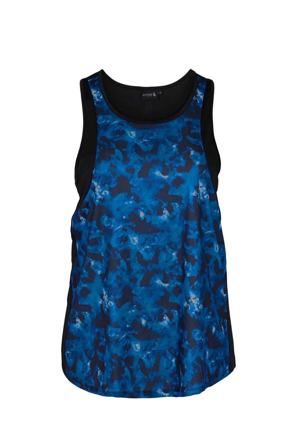 ACTIVE By Zizzi Plus Size sporttop Aniko blauw/zwart, Blauw