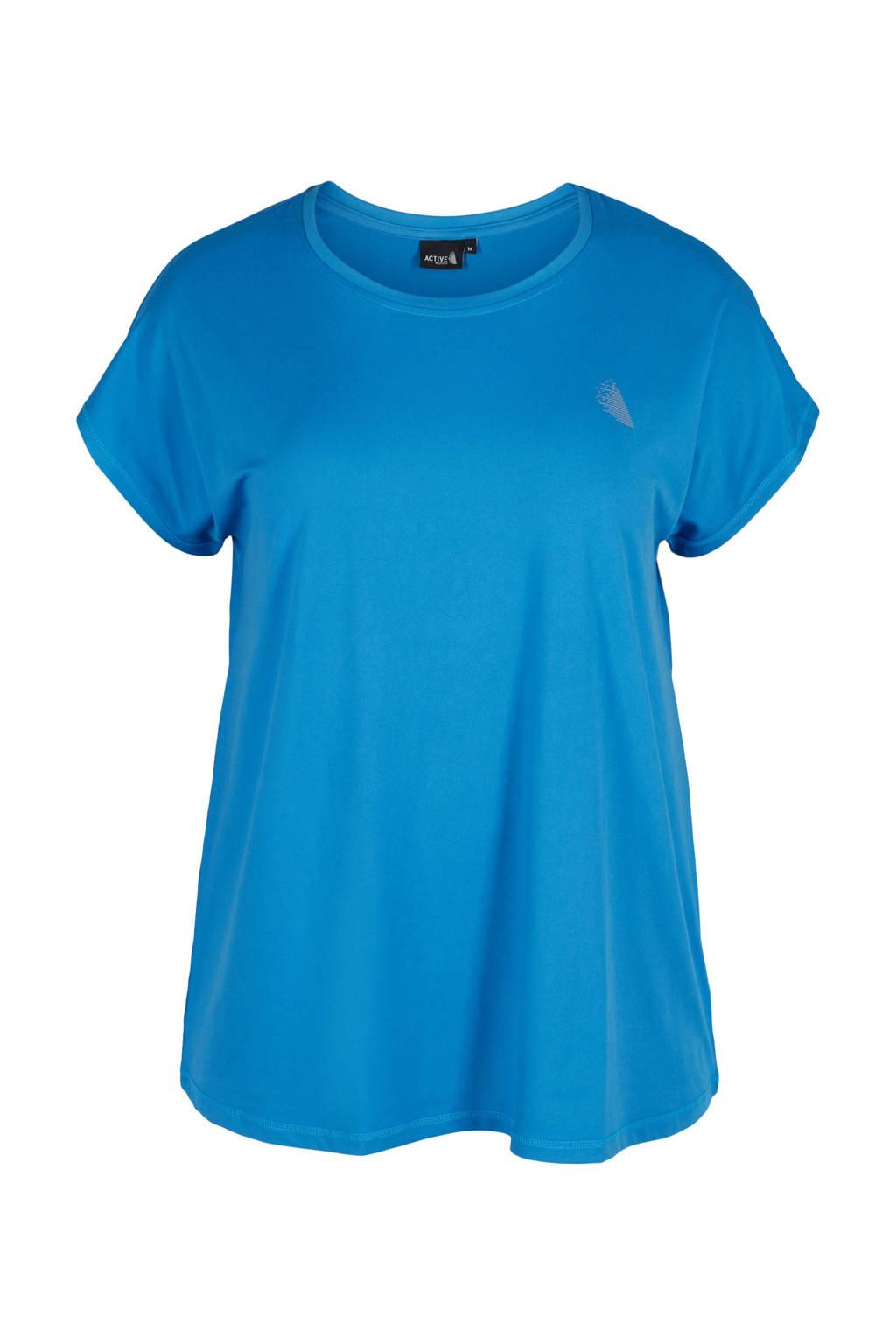 ACTIVE By Zizzi Plus Size sport T-shirt blauw, Blauw
