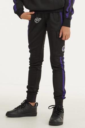 unisex skinny broek met logo zwart/paars