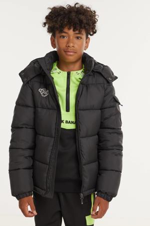 unisex winterjas met logo zwart