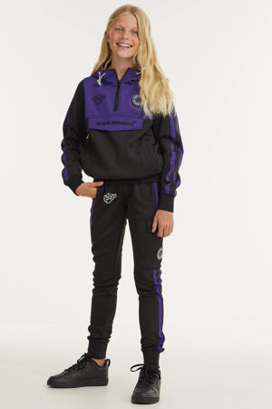 unisex sweater met logo zwart/paars