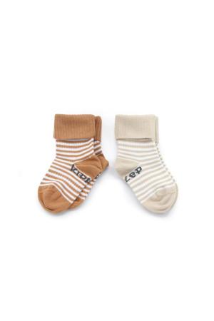 Blijf-Sokjes - set van 2 camel/sand