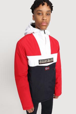 anorak winterjas Rainforest rood/wit/donkerblauw