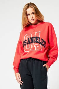 America Today sweater met printopdruk azelea red, Azelea red