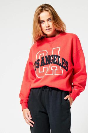 sweater met printopdruk azelea red