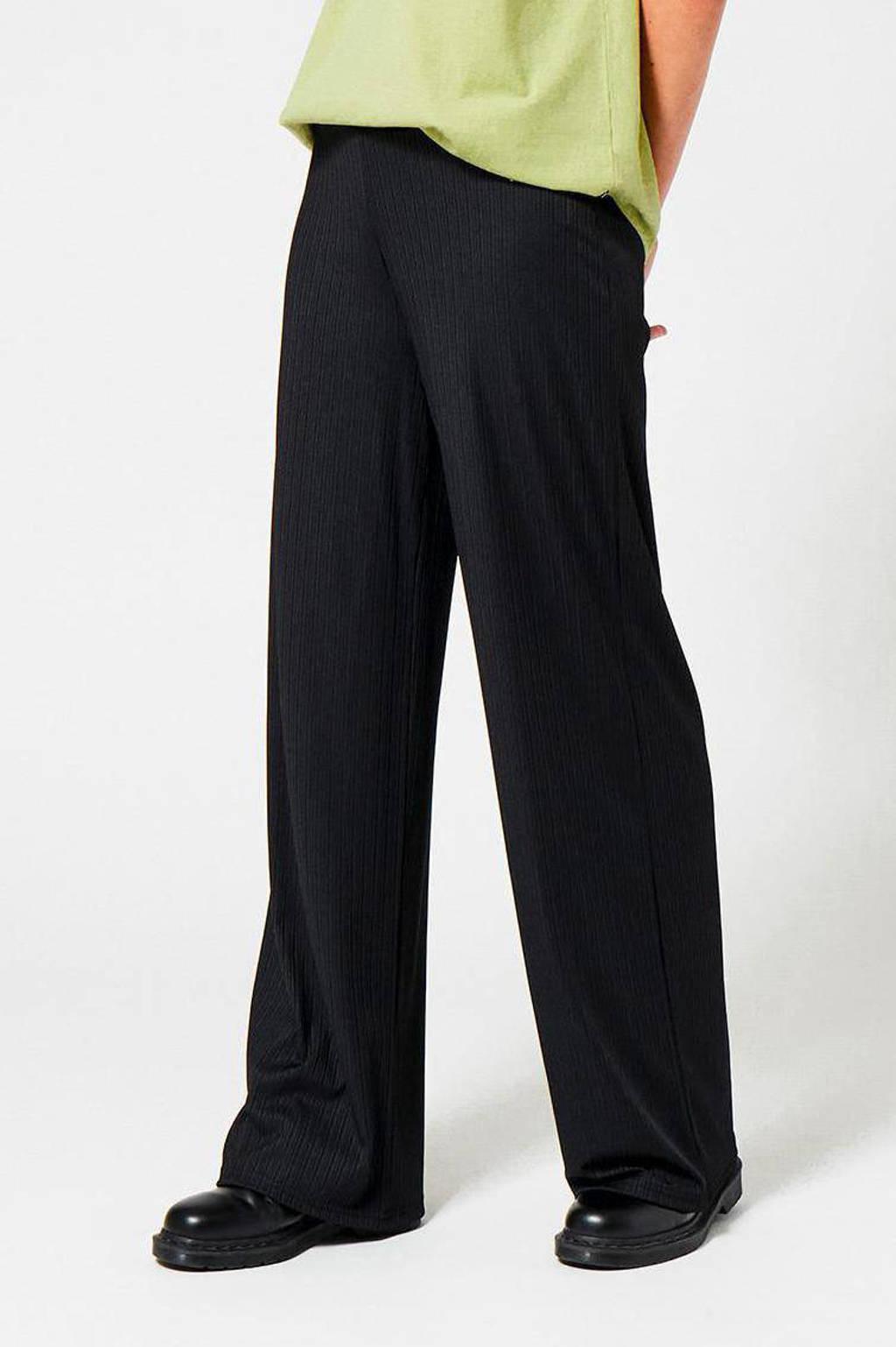 America Today wide leg broek met all over print zwart, Zwart