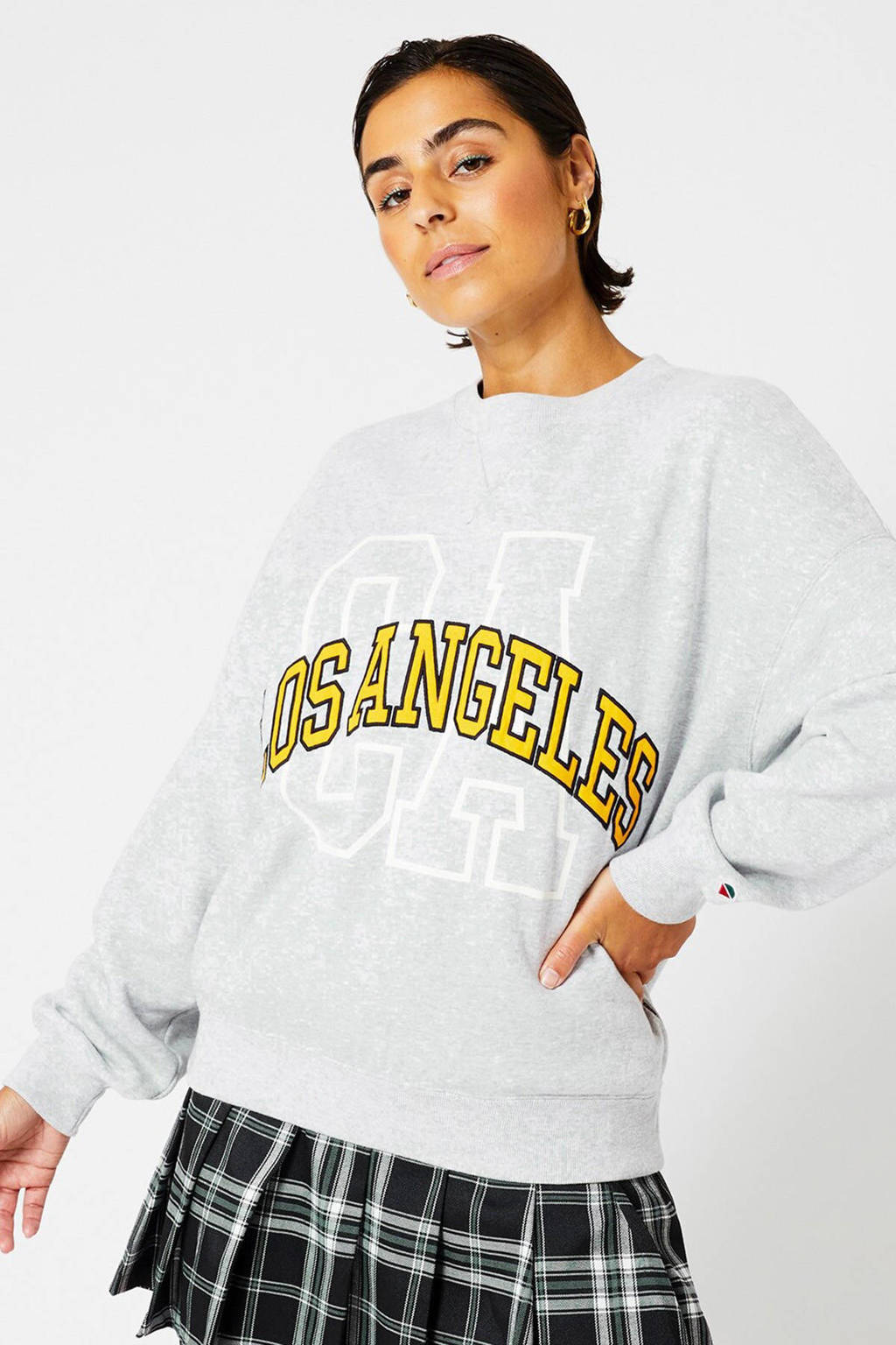 America Today sweater met printopdruk mid grey melange