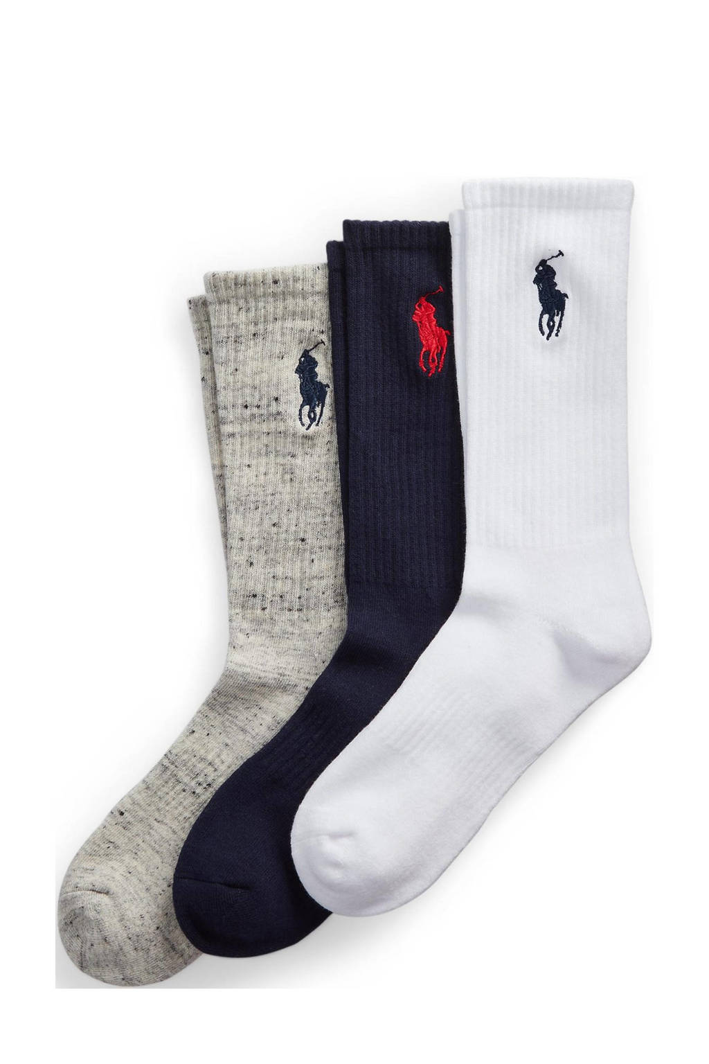 POLO Ralph Lauren sokken - set van 3 wit/blauw/grijs, Wit/blauw/grijs