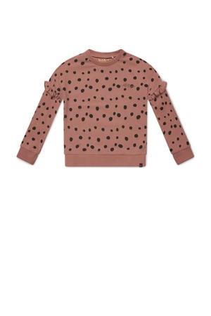 sweater Nova met all over print en ruches oudroze
