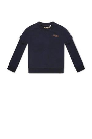 sweater Nova met ruches donkerblauw