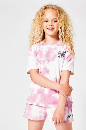 tie-dye T-shirt Elise roze/wit