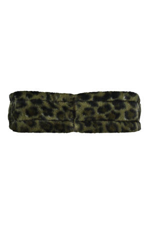 hoofdband met panterprint donkergroen/zwart