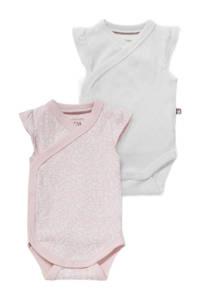 C&A Baby Club romper - set van 2 lichtroze/wit, Roze/wit