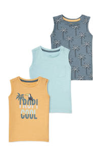 C&A Baby Club tanktop - set van 3 geel/lichtblauw/grijsblauw, Geel/lichtblauw/grijsblauw