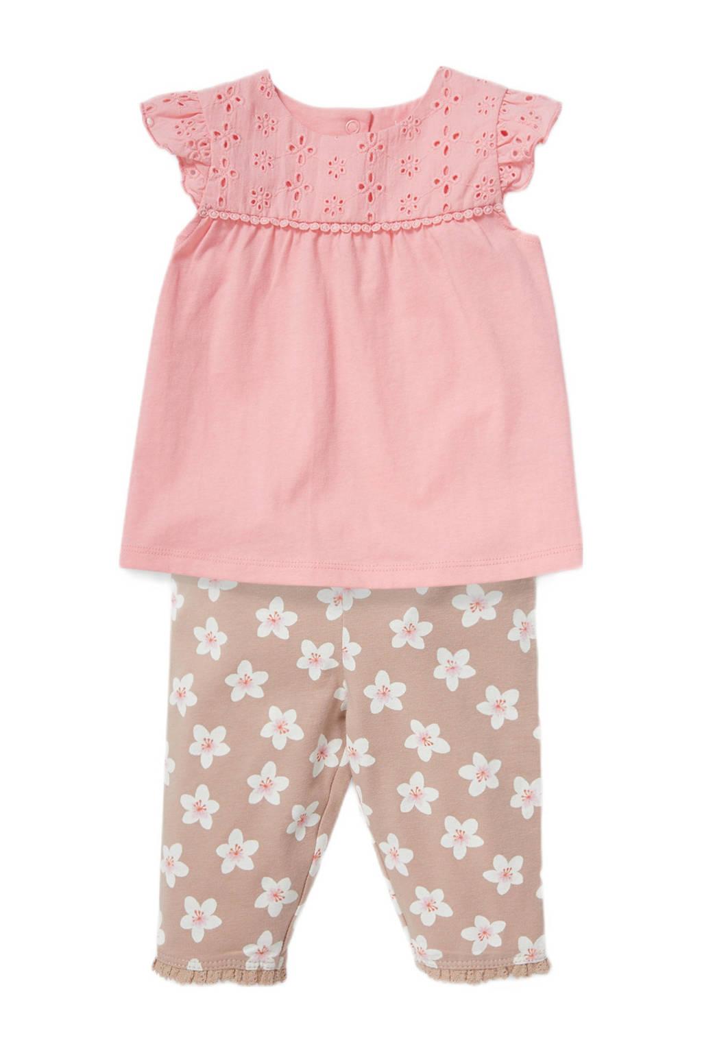 C&A Baby Club shirt + broek roze/lichtbruin/wit, Roze/lichtbtruin/wit