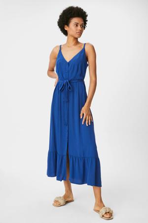 trapeze jurk met volant blauw