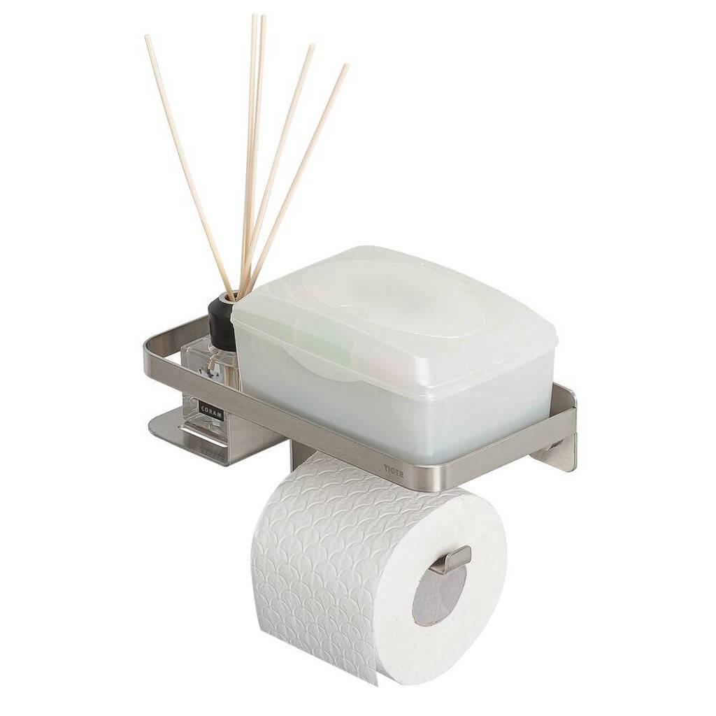 Tiger toiletrolhouder Caddy, RVS geborsteld