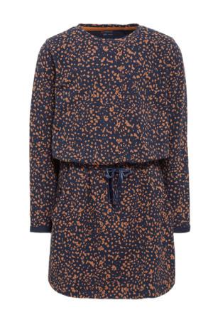 jurk Babs met all over print donkerblauw