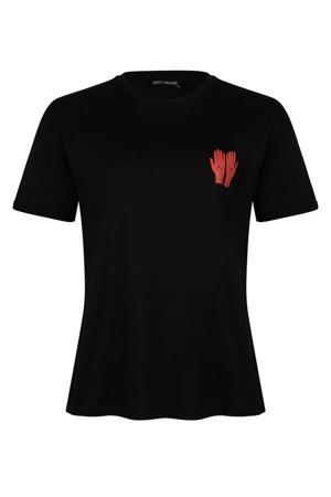 T-shirt Rozie met printopdruk zwart