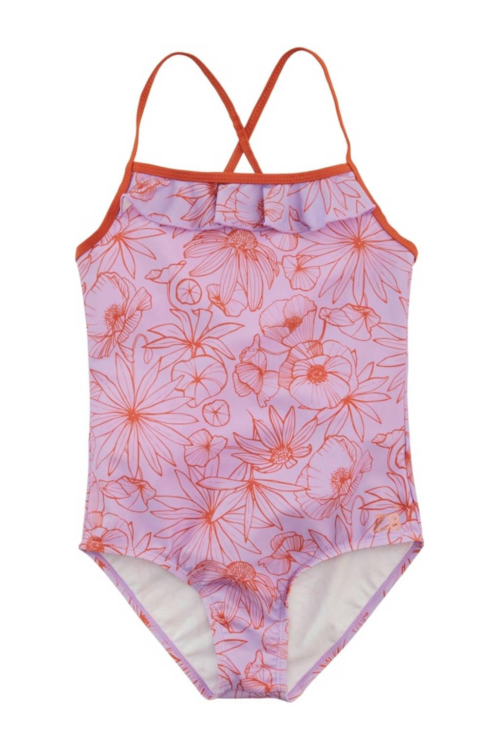 Z8 badpak Flo met all over print lila/donker oranje, Lila/roestbruin