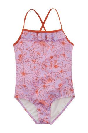 badpak Flo met all over print lila/donker oranje