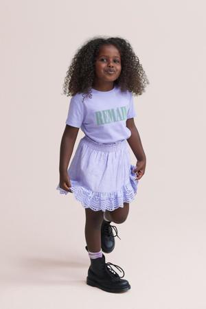 T-shirt Remain met tekst lila