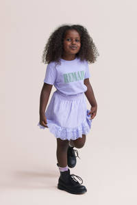 Shoeby Jill & Mitch T-shirt Remain met tekst lila, Lila