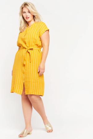 gestreepte jurk oker