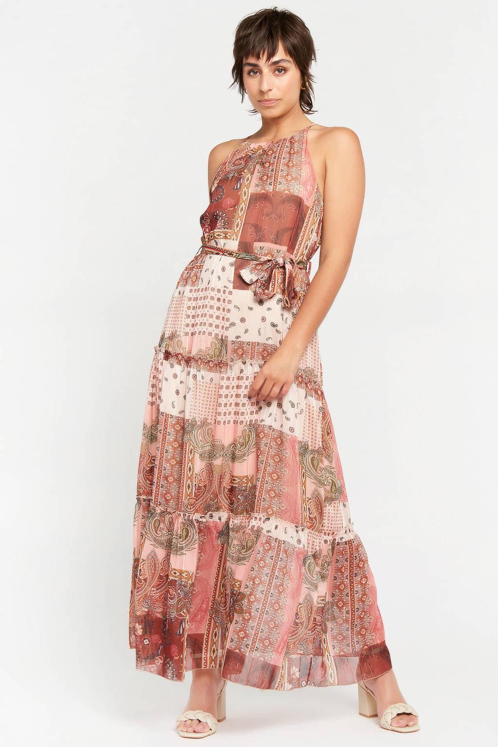 LOLALIZA halter maxi A-lijn jurk R-Paisy met all over print en volant roestbruin/ecru, Roestbruin/ecru