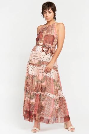 halter maxi A-lijn jurk R-Paisy met all over print en volant roestbruin/ecru