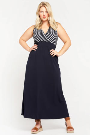 gestreepte maxi A-lijn jurk R-Bicostripe donkerblauw/ecru