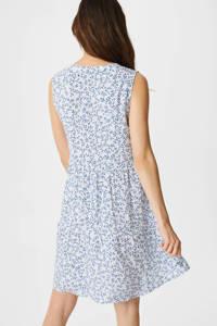 C&A Yessica jurk met all over print en plooien wit/blauw, Wit/blauw