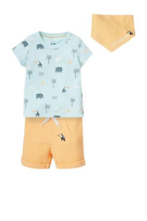 T-shirt + korte broek + slab - set van 3 geel/lichtblauw
