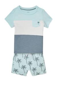 C&A Baby Club T-shirt + korte broek lichtblauw/grijs/wit, Lichtblauw/grijs/wit