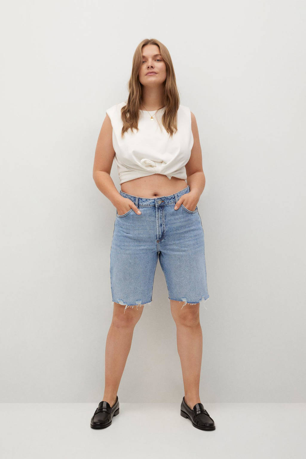 Violeta by Mango straight fit bermuda jeans light denim, Light denim