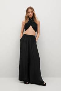 Mango high waist loose fit palazzo broek zwart, Zwart