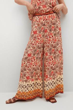 high waist wide leg palazzo broek met all over print oranje