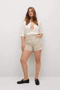 Violeta by Mango straight fit korte broek beige, Beige