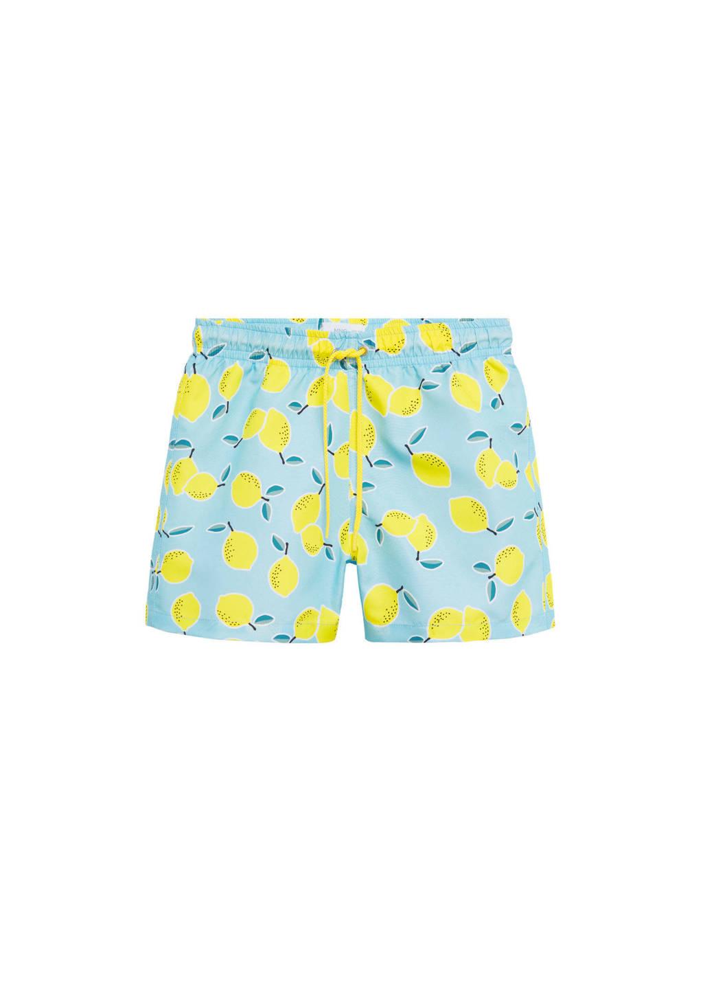 Mango Kids zwemshort met citroen print lichtblauw/geel, Lichtblauw/geel